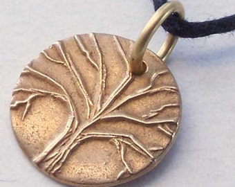 Bronze Tree of Life Necklace, Tree Pendant, Tiny Tree Disc, For Her Wife, 8th Anniversary Gift, Petite jewelry, Bestie Jewelry, BFF Gift