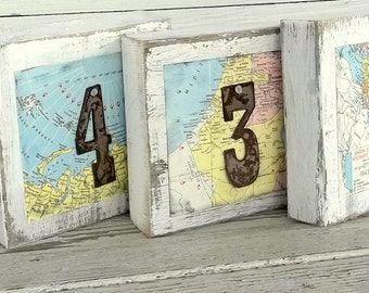 Destination Table Sign, *Featured Destination Wedding & Honeymoon Mag, Rustic Map Wedding Rusty Number Sign Travel Wedding Table Numbers