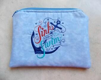 Sink or Swim Nautical Zipper Pouch - Cosmetics Bag