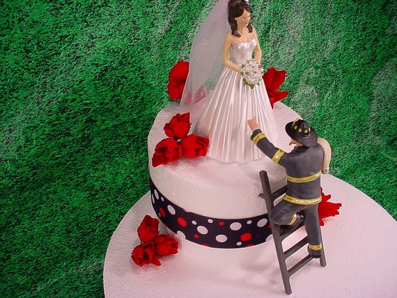 fire truck wedding cake toppers wearing veil and fireman to the rescue groom firefighter 14279