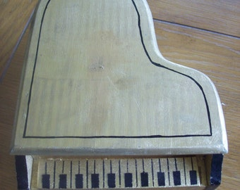 Wooden Grand Piano Box Vintage Collectible