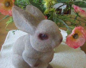 Vintage Flocked Easter Bunny Rabbit Bank With Plug