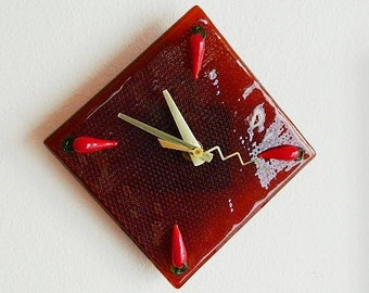 Red Caliente Chili Peppers Fused Glass Wall Clock, Original Signed Art Piece, CG7