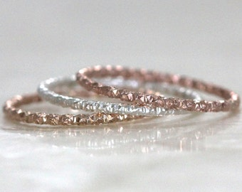 1mm Textured Bands in Sterling Silver, 14kt Yellow, or Rose Gold Fill Stacking, Wedding Band, Promise, Toe Ring Eco Friendly & Recycled