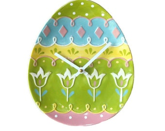 ON SALE!  Nursery Wall Clock / Nursery Decor / Whimsical Flowers and Polka Dots on Egg Shaped Plate Wall Clock  / Tulip Clock / 1651