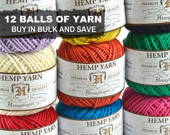 Hemp  Yarn,  12 Balls, Hemp Cotton  Yarn, Crochet Yarn, Hemp Fiber Yarn, Choose The Colors  - Y3