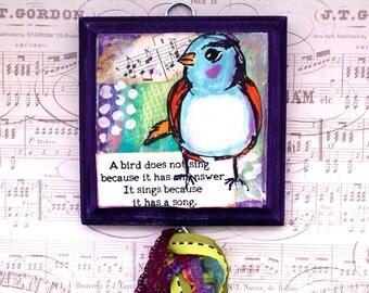 Mixed Media Wall Hanging Bird Song