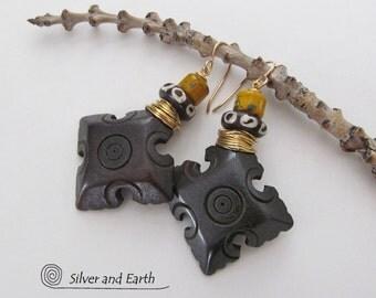 ON SALE - African Tribal Earrings, Handmade Earthy Boho Chic Tribal African Jewelry, Ethnic Earrings, Bohemian Gypsy Earrings, Jewelry Sale
