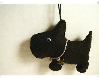 Black Scottish Terrier Ornament/Felt/ Single Or Set of 2/Handmade/ MADE to Order**