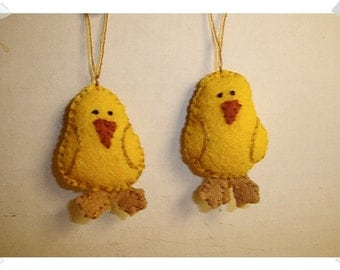 Chick Ornaments/ Set of 2/Made of Felt/ Handmade*/MADE to Order**