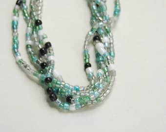 Beaded Necklace with 5 Strands Multi Color Seed Beads