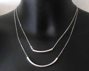 Bar Strand Necklace, Sterling Silver, Layered Necklace Set, Pendant Necklace, Jewelry, Gift
