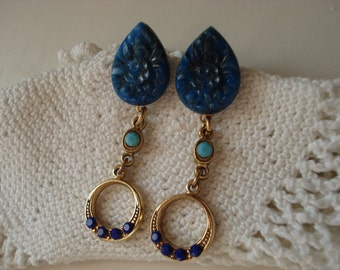 Vintage Carved Lapis Lazuli Bohemian Glass Teardrop Gold Earrings Turquoise Rhinestone