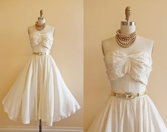 1950s Dress - Vintage 50s Dress - Ivory White Gold Silver Lame Strapless Wedding Party Dress XS - Keflavik