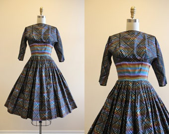 1950s Party Dress - Vintage 50s Dress - Colorful Black Silk Taffeta Full Skirt Dress XS XXS - Stained Glass Window