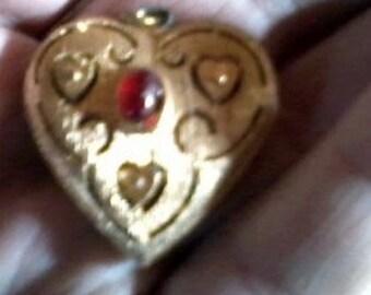 Sweet Little Vintage Heart Locket with Red Garnet