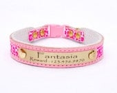Cat Collar Personalized five eighths inch (15.875mm) width Leather/Pink Leopard Print Cute Cat Collar w/ Breakaway Buckle by Ruggit