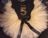 Girls size 4-12 Today I'm Golden birthday set-- rhinestone bling  shirt  and gold tutu - black shirt with black ribbon
