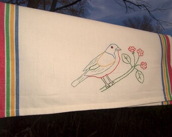Painted Bunting tea towel- hand stitched