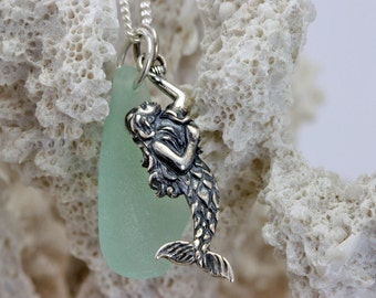 Sterling Silver Mermaid Charm Necklace with Genuine Sea Glass