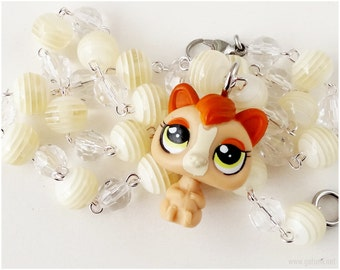 Littlest Pet Shop, Beaded Necklace, Cream, Squirrel Figure, Toys, Kawaii Jewelry, LPS