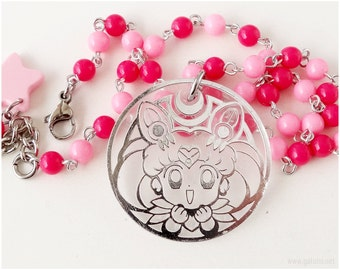 Chibiusa Necklace, Beaded Chain, Pink, Fuchsia, Sailor Moon, Magical Girl, Children's Jewelry