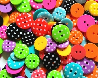 28 pcs Retro Polka Dot Buttons 2 holes Mix size assorted color