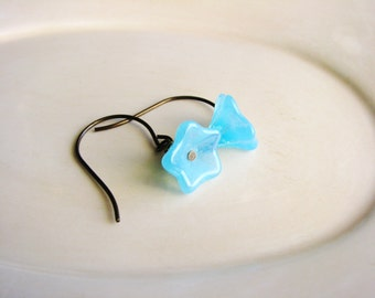 Sky Blue Glass Flower Earrings Czech Glass Flower Earrings Bead Earrings Naturalist Earrings Botanical Jewelry Bridal Minimalist Jewelry