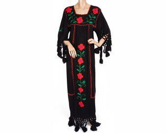 1960s Embroidered Wool Dress Hippie - M - Tall