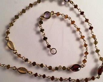 Tourmaline, gold, and various gemstone necklace, Fine Jewelry, Gold Vermeil, Gold Filled, Citrine, Garnet
