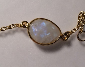 Moonstone Bezel Gold and Gold Filled Chain Bracelet