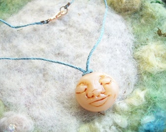 Moon Face Necklace, Luna Spirit,Tranquil, Peaceful