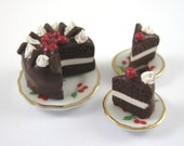 RESERVED peony235 Dollhouse Miniature Food Black Forest Gateau in 12th Scale