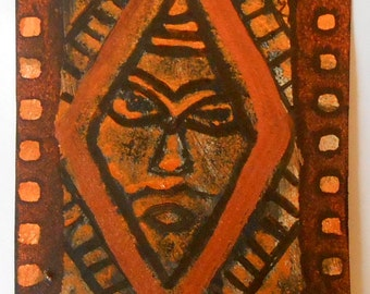 Original Handmade ACEO African Inspired Mask Gold Copper Black