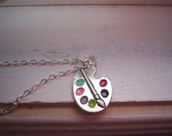 Painters Necklace - Painters Pallet Necklace - Paint Necklace -Artist Necklace - Free Gift With Purchase