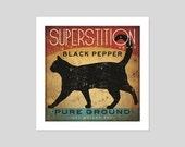 Black Cat Pepper Kitchen Art Print Graphic Art by Ryan Fowler SIGNED