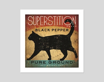 Black Cat Pepper Kitchen Art Print Graphic Art by Ryan Fowler SIGNED