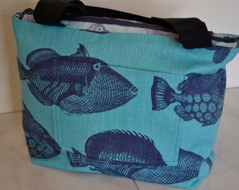 Medium Tropical Fish Zippered Tote Bag