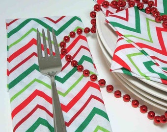 Dinner Napkins - Holiday Chevron Stripe in Red, Green and Lime on White - Cotton - Reusable - set of 4