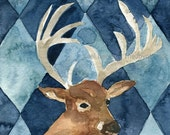 Oh Deer, deer art print , deer with argyle, for men, country style, father's day, Brown, Blue, deer watercolor,wild life art, Christmas,