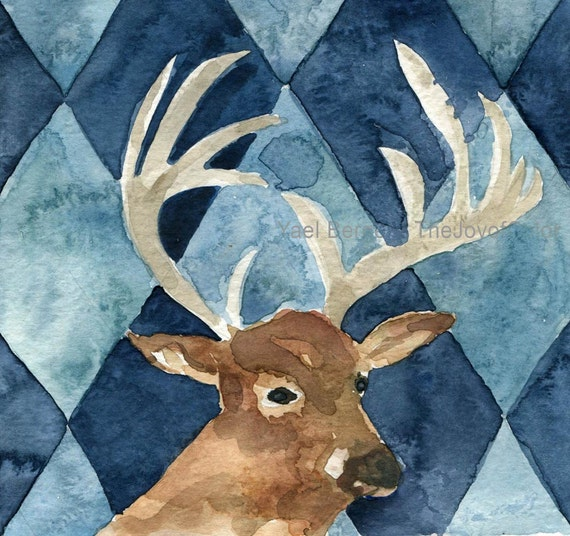 Oh Deer print, deer art print, deer with argyle, for men, painting, father's day, Brown, Blue, deer watercolor, wild life art, Christmas art