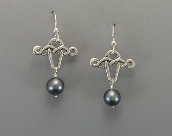 Celtic Dance Sterling Silver Earrings, Grey or Irish Green Pearls
