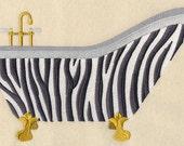 ZEBRA BATHTUB- Machine Embroidered Quilt Block (AzEB)