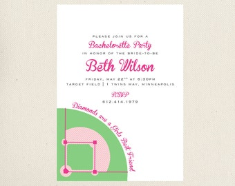 Baseball Bachelorette Party Invitation