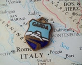 OLD Vintage Brass & Enamel Lake Garda Italy Travel Shield Charm
