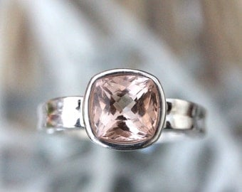 Genuine Morganite Sterling Silver Ring, Gemstone Ring, Cushion Shape, Engagement Ring, Stacking Ring, Eco Friendly, Art Deco -Made To Order