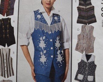 Vintage McCalls 6786 Misses Lined Vests by Creative Clothing  in sizes 8-10-12  (uncut)