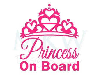 Glossy Princess On Board Vinyl Decal - Baby on Board