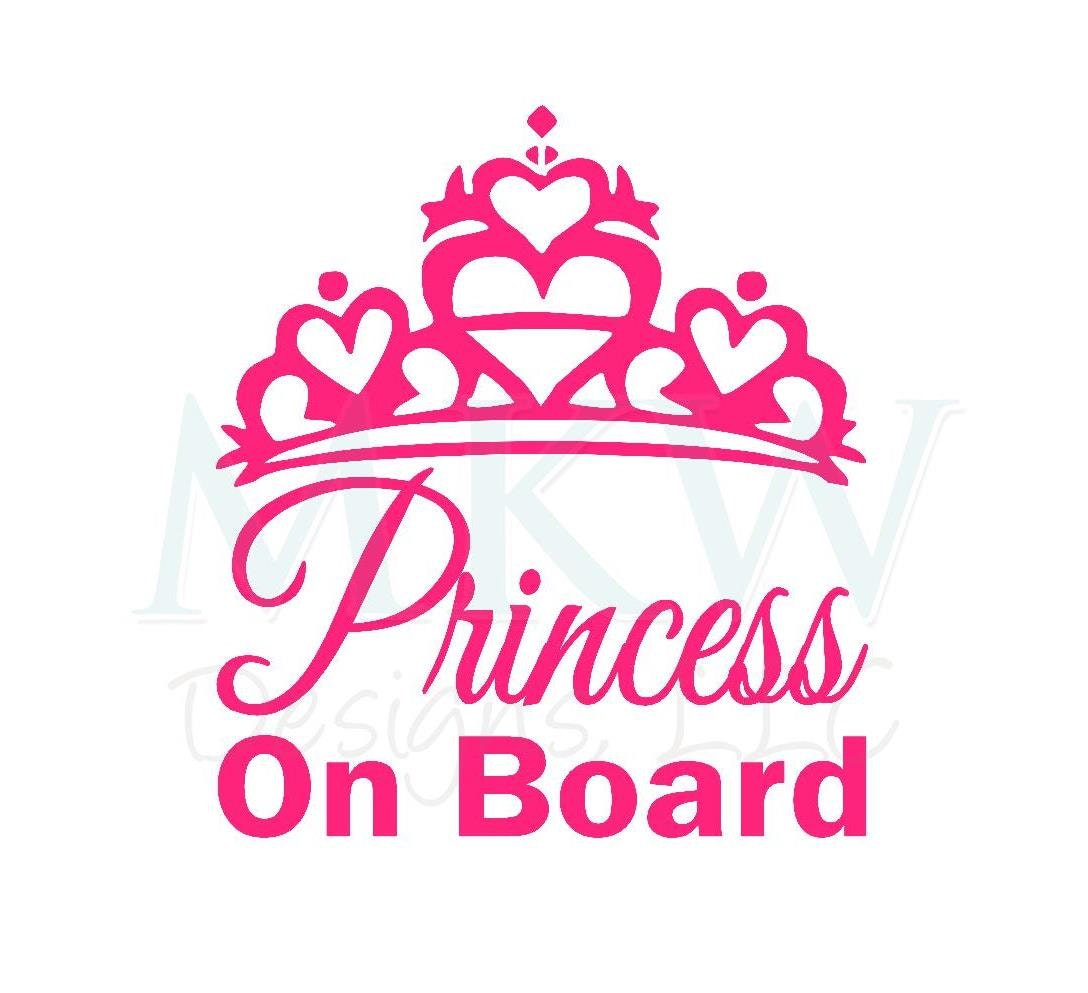 Glossy Princess On Board Vinyl Decal Baby On Board