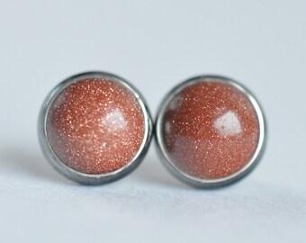 goldstone 8mm sterling silver stud earrings pair